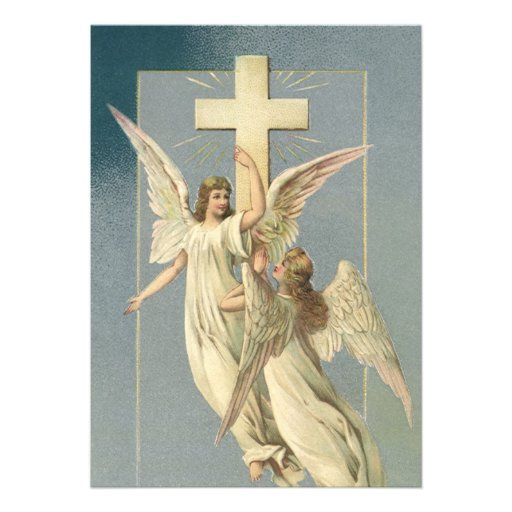 Vintage Victorian Easter Angels with a Cross Invite