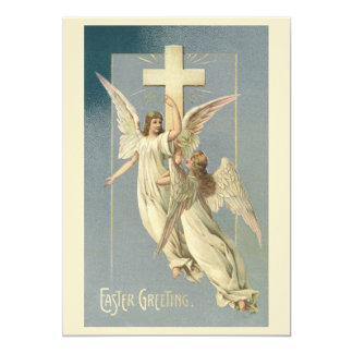 Vintage Victorian Easter Angels with a Cross Invites
