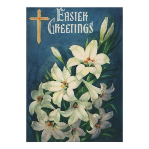Vintage Victorian Easter Greetings with Lilies Invitation