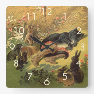 Vintage Victorian Fairy Tale, Puss in Boots Square Wall Clock