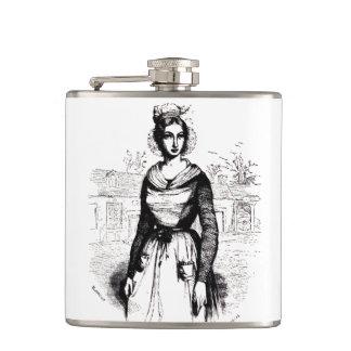 Vintage Victorian Farm Lady Hip Flask