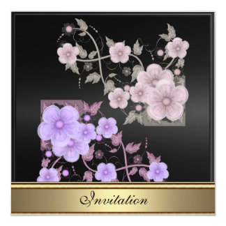 """Vintage Victorian Floral Any Birthday 5.25"""" Square Invitation Card"""