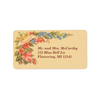 Vintage Victorian Floral Avery Label