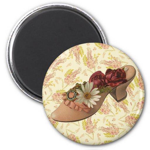 Vintage Victorian Floral Shoe Fridge Magnet