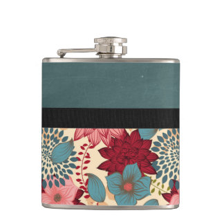 Vintage Victorian Flowers Hip Flask