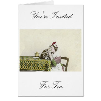 Vintage Victorian Girl Good Kitty Tea For Two Card