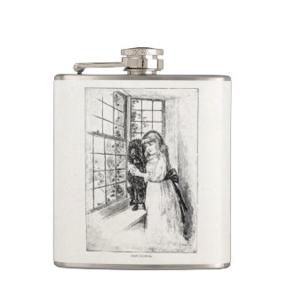 Vintage Victorian Girl Poodle - Template Blank Flasks