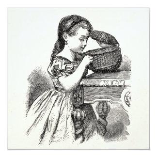 Vintage Victorian Girl With Basket Card