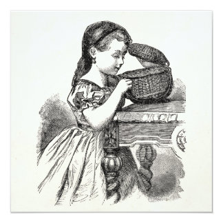 Vintage Victorian Girl With Basket 13 Cm X 13 Cm Square Invitation Card