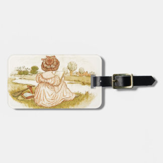 Vintage Victorian Hat Girl Reading a Book on Grass Bag Tag