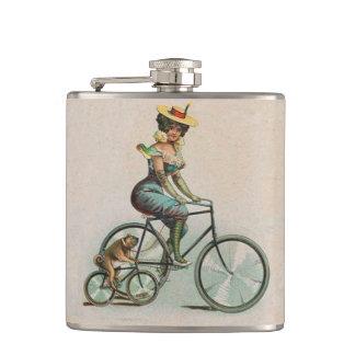 Vintage Victorian Lady Dog Bicycle Hip Flask