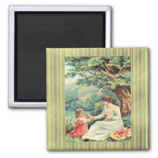 Vintage Victorian Lady & Girl W/Flowers Magnet