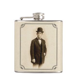 Vintage Victorian Man Suit Derby Hat Father Hip Flask