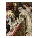 Vintage Victorian Newlywed Bride Tossing Bouquet