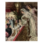 Vintage Victorian Newlywed Bride Tossing Bouquet Poster