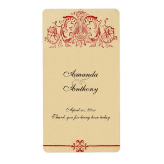 Vintage Victorian, Red Baroque, Wedding Wine,Water Shipping Label