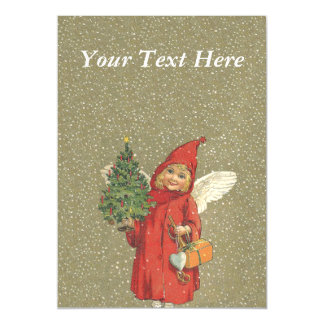 Vintage Victorian Red Christmas Child Angel Tree Magnetic Invitations
