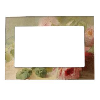 Vintage Victorian Rose Watercolor Magnetic Frame