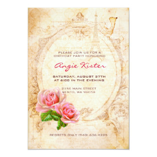 Vintage Victorian Roses Birthday Party Invitation