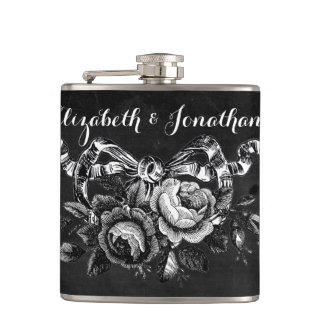 Vintage Victorian Roses Wedding Hip Flask
