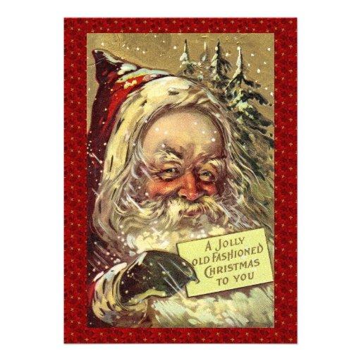 Vintage Victorian Santa Claus Custom Invitation