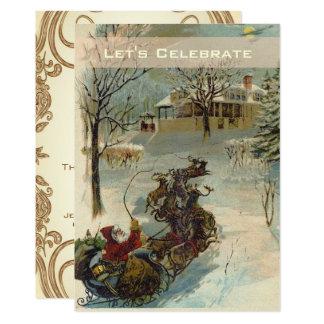 Vintage Victorian Santa Holiday Christmas Party 13 Cm X 18 Cm Invitation Card