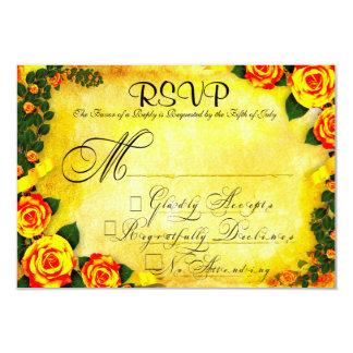 Vintage Victorian-Styled Wedding RSVP Card 9 Cm X 13 Cm Invitation Card