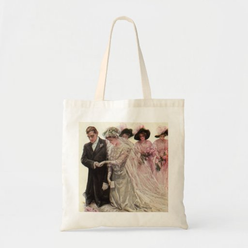 Vintage Victorian Wedding Ceremony, Bride Groom Budget Tote Bag