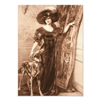 Vintage Victorian Woman w Greyhound Dog Template 13 Cm X 18 Cm Invitation Card