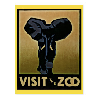 Vintage Visit The Zoo postcard