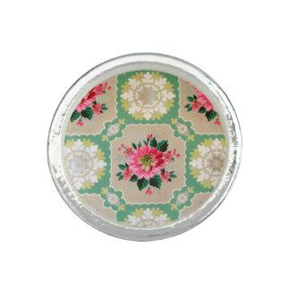 Vintage wallpaper ring pink & green floral