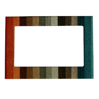 Vintage Warm Autumn Striped Pattern, Earth Tones Magnetic Photo Frame