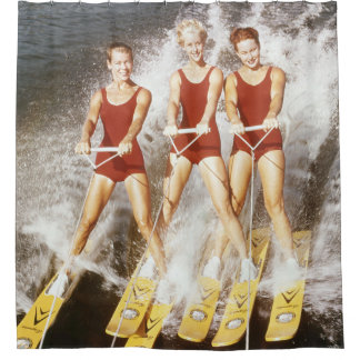 Vintage Water Ski Gals Shower Curtain