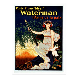 Vintage Waterman fountain pen advertising Postcard