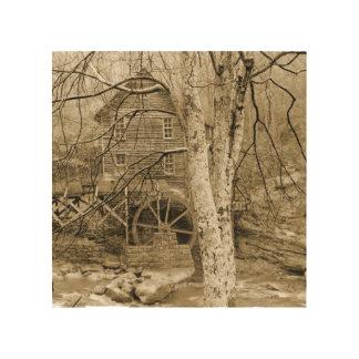 Vintage Waterwheel Wood Canvas