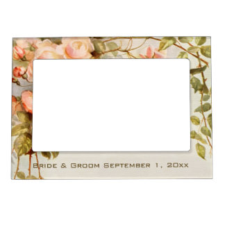 Vintage Wedding, Antique Pink Rose Flowers Floral Photo Frame Magnets