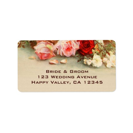 Vintage Wedding, Antique Rose Flowers Floral Art Label