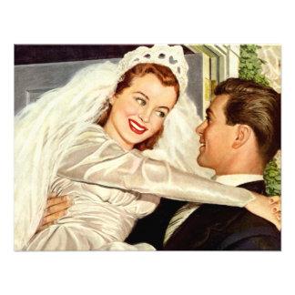Vintage Wedding Bride and Groom Happy Newlyweds Custom Announcement