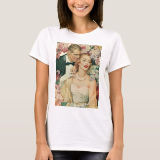 Vintage Wedding, Bride and Groom with Pink Flowers T-Shirt
