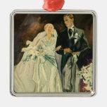Vintage Wedding Bride Groom Newlyweds Just Married Christmas Ornament