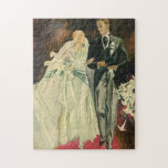 Vintage Wedding Bride Groom Newlyweds Just Married Jigsaw Puzzles