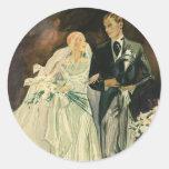 Vintage Wedding Bride Groom Newlyweds Just Married Classic Round Sticker
