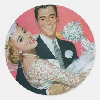 Vintage Wedding Groom Carrying Bride Newlyweds Round Sticker