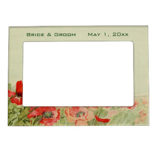 Vintage Wedding, Red Poppy Flowers Floral Meadow Magnetic Photo Frame