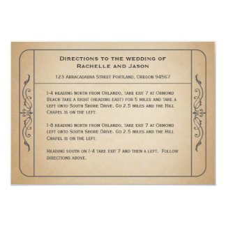 Vintage Wedding Ticket Driving Directions 2.0 Card