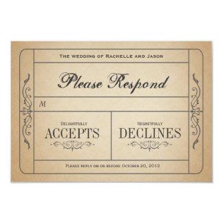 Vintage Wedding Ticket  RSVP Card