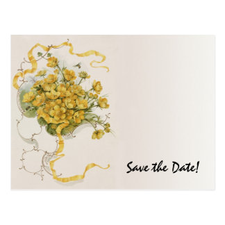 Vintage Wedding Yellow Flower Floral Save the Date Post Cards