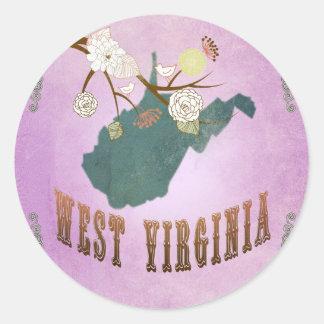 Vintage West Virginia State Map- Grape Purple Stickers