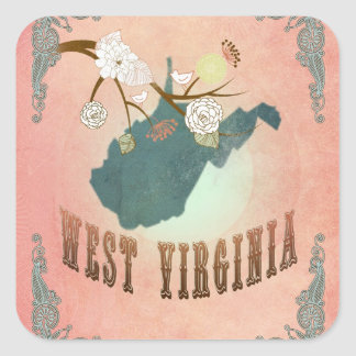 Vintage West Virginia State Map- Pastel Peach Square Stickers