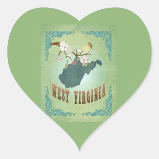 Vintage West Virginia State Map – Sage Green Sticker